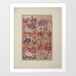Verneuil - Japanese paper and fabric designs (1913) - 16: Chrysanthemums & Peonies Art Print