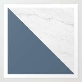 Marble Bluestone Diagonal Color block Art Print