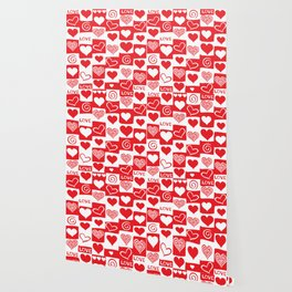 Love Pattern Text & Hearts Wallpaper