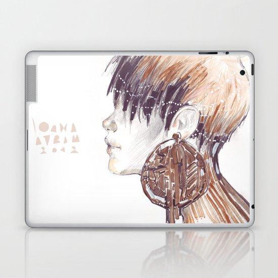 Fashion illustration profile portrait gold black white markers and watercolors Laptop & iPad Skin