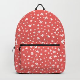 teeny white flowers on pink Backpack