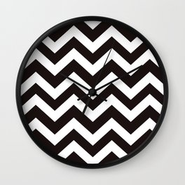 Licorice - black color - Zigzag Chevron Pattern Wall Clock