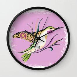 Hummingbird Ink Tribal Romantic Pink Wall Clock