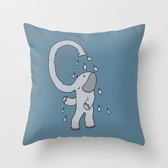 Elephant shower Throw Pillow
