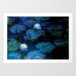 monet water lilies 1899 Blue teal Art Print