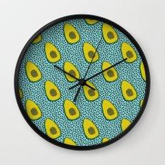 Fer Shure - memphis retro throwback avocado love fruit vegetable vegan vegetarian raw food art Wall Clock