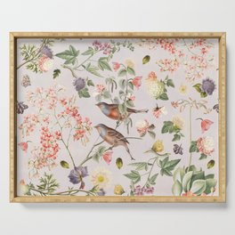 Violet and Rusty Pink Blooms Serving Tray