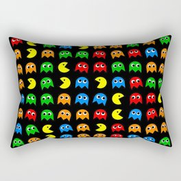 Pacman Seamless Generated monster eat hungry eye mask face rainbow color Rectangular Pillow