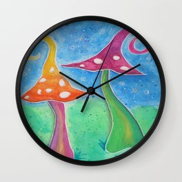 Whimsical Watercolour Mushrooms Wall Clock