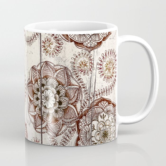Coffee & Cocoa - brown & cream floral doodles on wood Coffee Mug