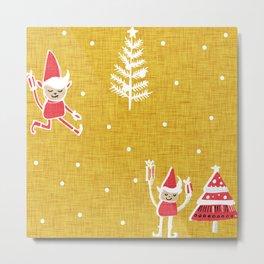 Santa Elf Gold Red #Christmas #holiday Metal Print