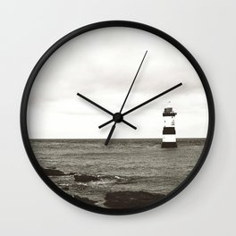 Lighthouse - black and white Wall Clock