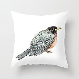 Grey Watercolor Bird Throw Pillow