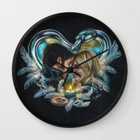 captain swan Wall Clocks featuring Captain Swan by Svenja Gosen