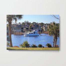 Palm Tree Boat Framed Metal Print