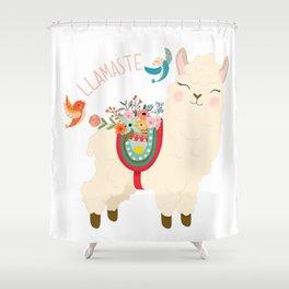 Llamaste - When A Llama Offers You A Respectful Greeting Shower Curtain