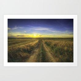 Autumn Sunset on Farmers Field Art Print
