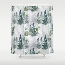 Artistic hand painted green white watercolor trees polka dots Shower Curtain