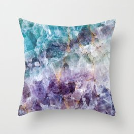 Turquoise & Purple Quartz Crystal Throw Pillow