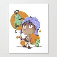 aladdin Canvas Prints featuring Cute Aladdin by EY Cartoons