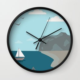 Sea shore with a boat and a shark approaching people  Wall Clock