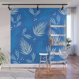 Blue Winter Tropics Pattern Wall Mural