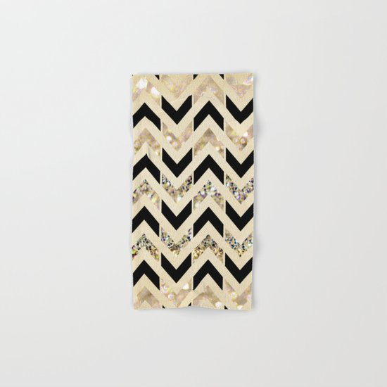 Black & Gold Glitter Herringbone Chevron on Nude Cream Hand & Bath Towel