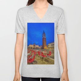 Saint Mark's square with campanile Unisex V-Neck