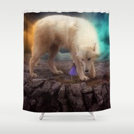 Giant Wolf with Woman by GEN Z Shower Curtain