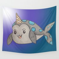 narwhal Wall Tapestries featuring tiny narwhal by wickedhart