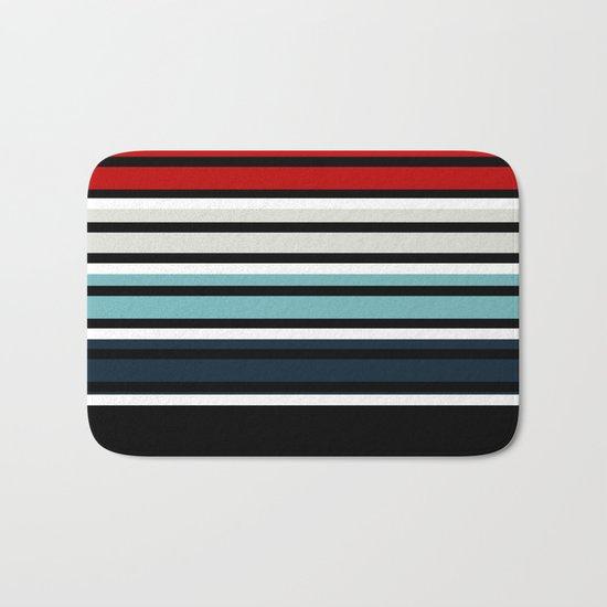 Pattern stripes . Blue , red , white , gray , black . Bath Mat