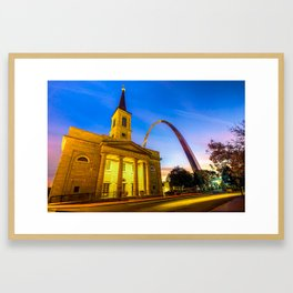 Downtown Saint Louis Arch and The Old Cathedral - Basilica of St. Louis Framed Art Print