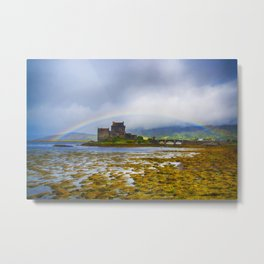 Rainbow over Eilean Donan Castle Metal Print