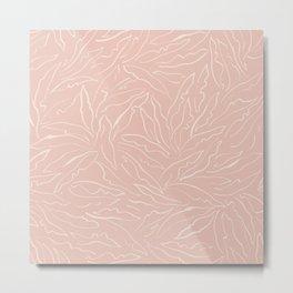 Line Art Plants / Light Blush Pink Leaves Metal Print