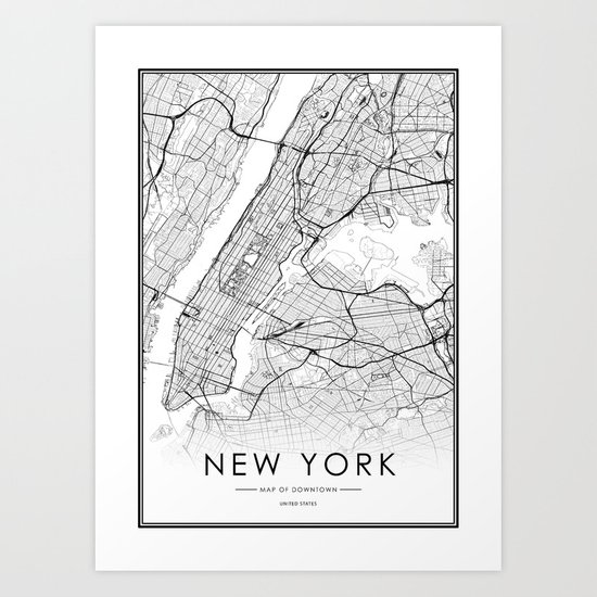 New York City Map United States White and Black by victorialyu