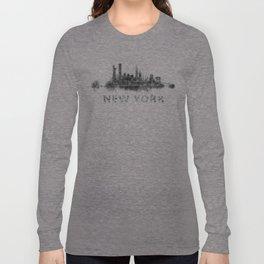 NY New York City Skyline NYC Black-White Watercolor art Long Sleeve T-shirt