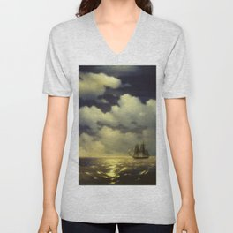 Ivan Aivazovsky -The brig Mercury encounter after defeating two Turkish ships of the Russian squadro Unisex V-Neck