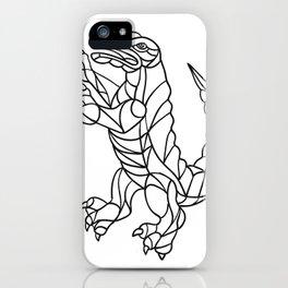 Alligator Prancing Mosaic Black and White iPhone Case