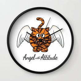 Funny Angel Tiger With Attitude Cat Lover Wall Clock