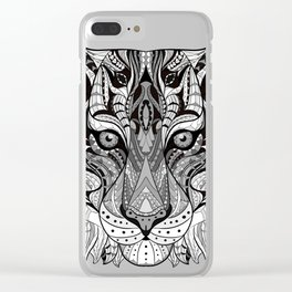 Ethnic Tiger Tribal Doodle 01 Clear iPhone Case
