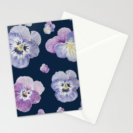 Watercolor Pansy Pattern (Navy Background) Stationery Cards