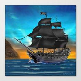 Pirate Ship at Sunset Canvas Print