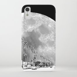California Dream // Moon Black and White Palm Tree Fantasy Art Print iPhone Case