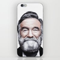 robin williams iPhone & iPod Skins featuring A tribute to Robin Williams by Antoine Dutilh