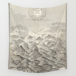 Vintage Map of Hills and Mountains in Great Britain, 1837 Wall Tapestry