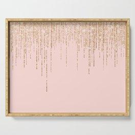 Luxury Blush Pink Gold Sparkly Glitter Fringe Serving Tray