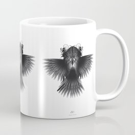 Strange Hummingbird 1.Black on white background. Coffee Mug