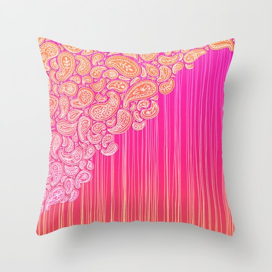 The Unraveling of Paisley Lace (in ombre pink and gold) Throw Pillow
