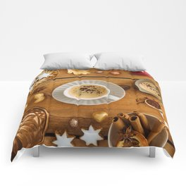 Christmas decoration on wood Comforters