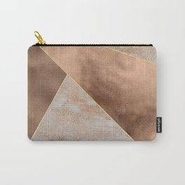 Copper Foil and Blush Rose Gold Marble Triangles Carry-All Pouch